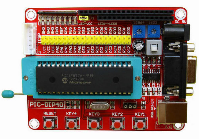 3PCS Free shipping Mini System PIC Development Board + Microchip PIC16F877A+ One USB Cable pic development board pic16f877a pic16f877a i p 8 bit risc pic microcontroller development board 11 accessory modules