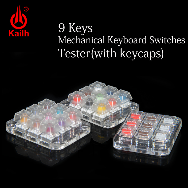 9 Keycaps Mechanical Keyboard Switches Tester Translucent Clear Keycaps Kit For Kailh MX Sampler Caps Testing Tool