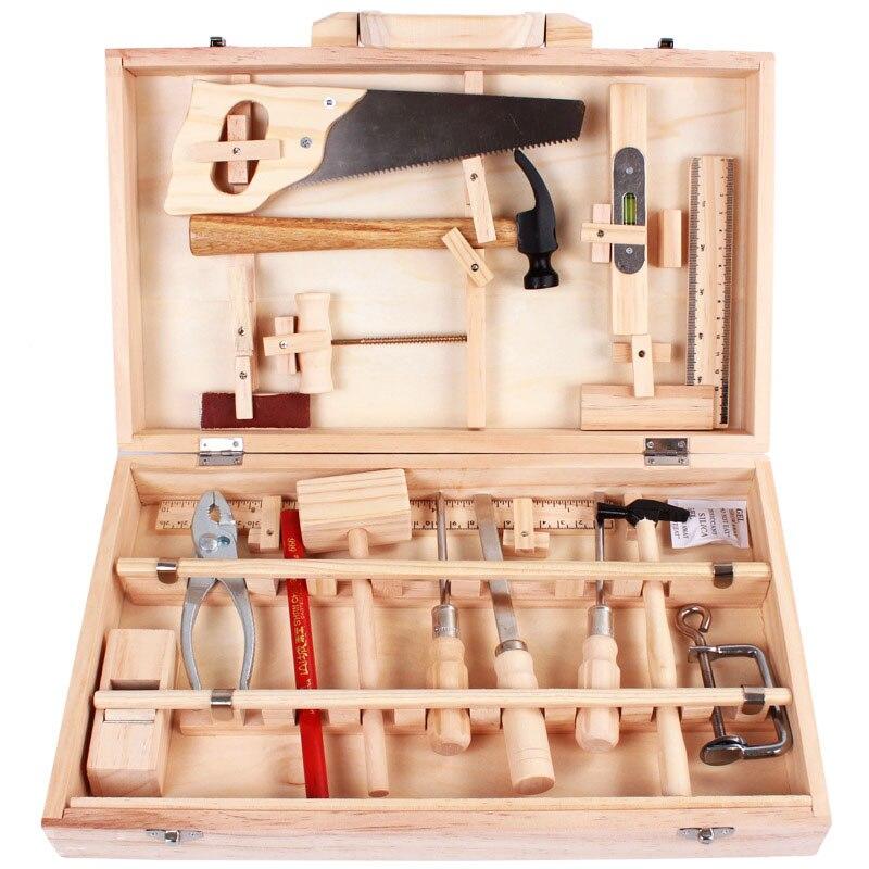 criancas vida real caixa de ferramentas de carpinteiro de madeira do menino fingir brinquedo ferramentas de