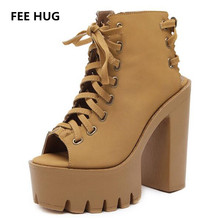 FEE HUG Ultra High Heels Shoes Woman Platform Lace Up Open Toe Thick Heels Sandals For Woman Laides Pumps Russia Party Shoes