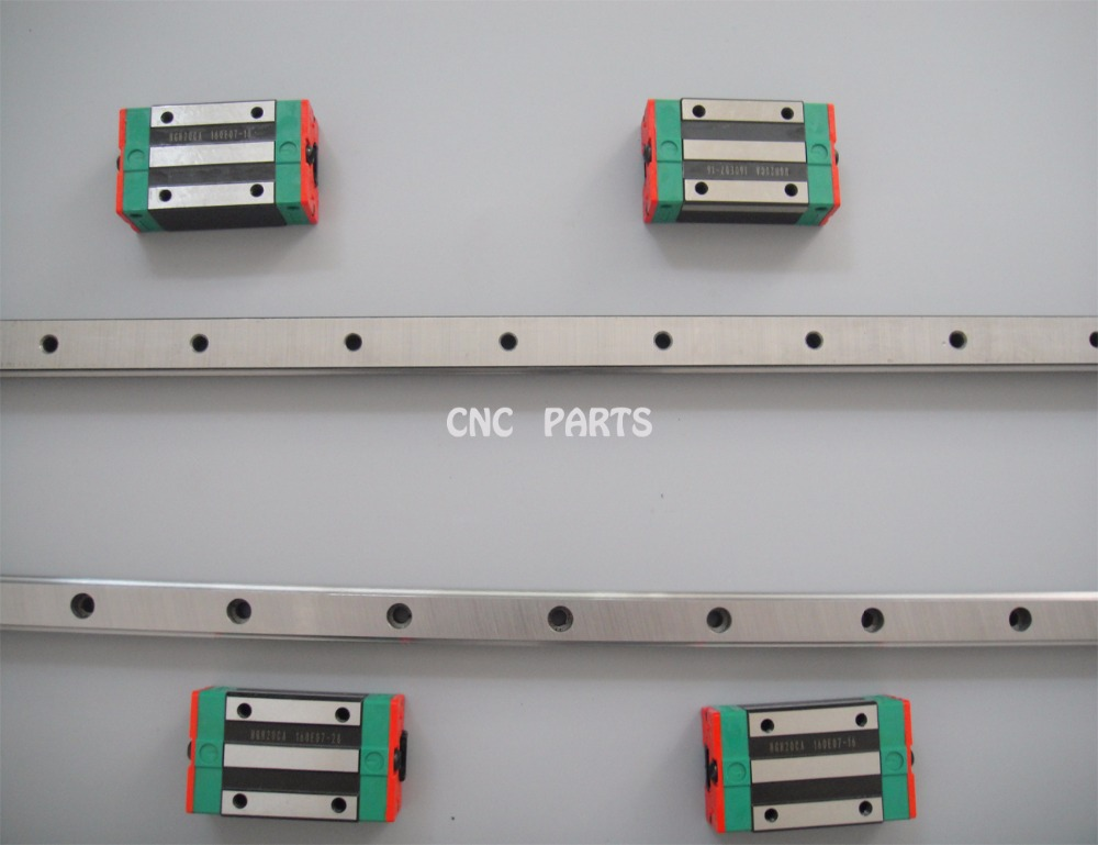 2 piece Taiwan HIWIN linear guideway HGR20 500mm length with 4 pieces HGH20CA carriage2 piece Taiwan HIWIN linear guideway HGR20 500mm length with 4 pieces HGH20CA carriage