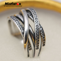 Genuine 925 Sterling Silver Entwined Clear CZ Ring Compatible With Pandora Ring Jewelry