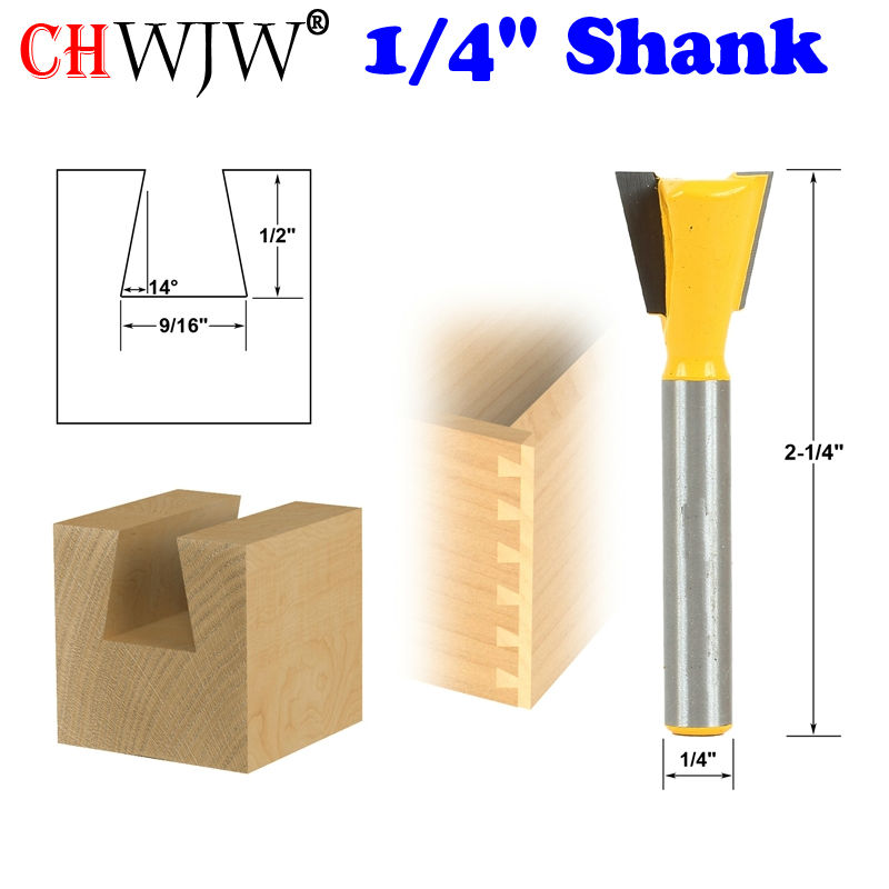 1pc 14 Degree 9/16 Dovetail Joint Router Bit - 1/4 Shank Woodworking cutter Tenon Cutter for Woodworking Tools 2 pcs 1 2t type shank 3teeth tenon cutter 4mm reversible glue bits of high quality dovetail router bits box joint router bit