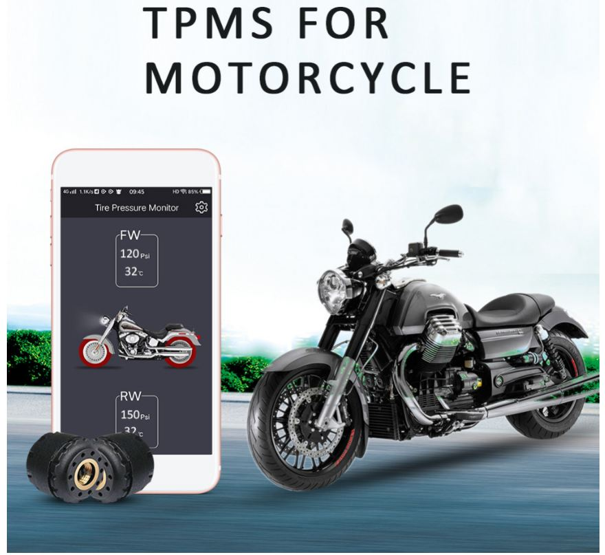 TP200 Motorcycle Bluetooth Tire Pressure Monitoring System TPMS Mobile Phone APP Detection 2 External Sensors(China)