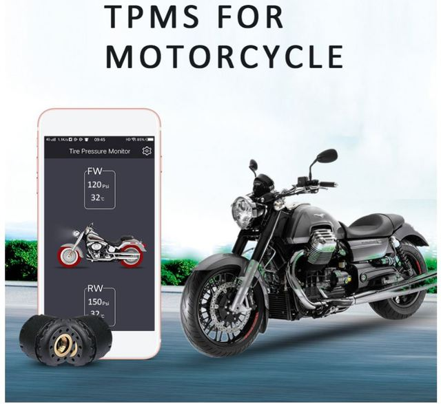 TP200 Motorcycle Bluetooth Tire Pressure Monitoring System TPMS Mobile Phone APP Detection 2 External Sensors