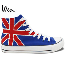 Wen New Arrival Hand Painted Shoes Design Custom UK Flag Men Women's High Top Canvas Sneakers for Gifts