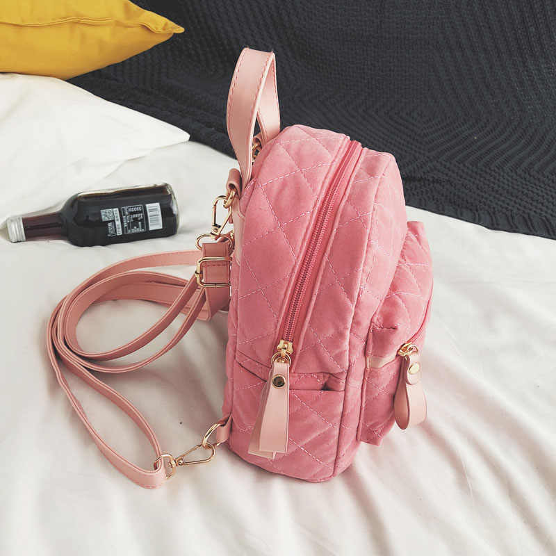 5f54ed0e1707 ... Women Velvet Backpack Mini Velour Shoulder Bag For Teenage Girls Female  Backpacks Fashion Small Daypack Rucksack ...