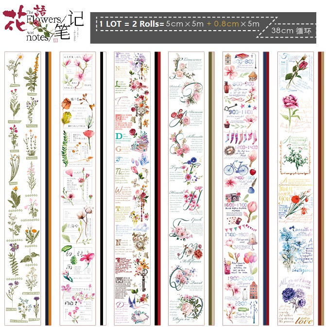 6Design 2ROLLS/LOT Plants/Letters/Flowers/Festival/Notes Japanese Washi Decorative Adhesive DIY Masking Paper Tape Sticker Label 1roll 30mmx7m high quality feather pattern japanese washi decorative adhesive diy masking paper tape label sticker wholesale