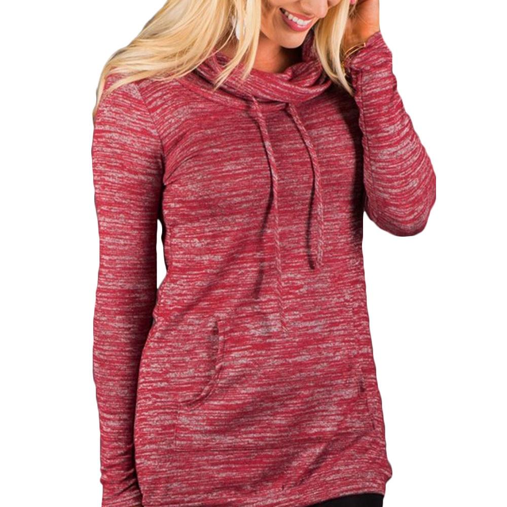 CHAMSGEND 2018 Women Hoodies Fashion Womens Casual Hooded Sweatshirt Pullovers Women Outwear Pockets Cotton Solid Print Female