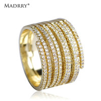 Madrry White Enamel Esmalte Rings For Women Large Round Men Ring Gold Color Hollow Trendy Alloy