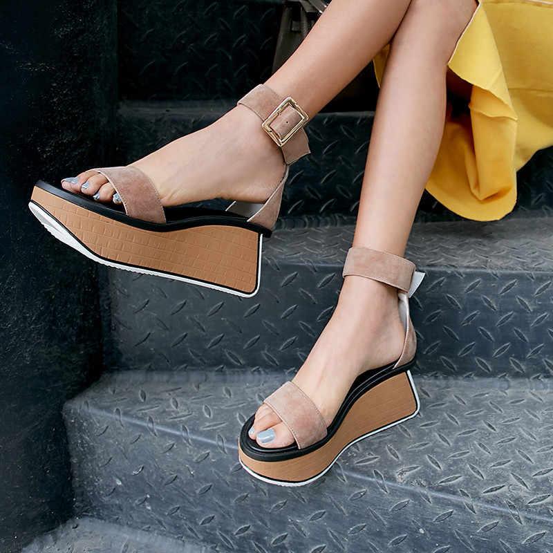 MORAZORA 2019 ใหม่แฟชั่นผู้หญิงรองเท้าแตะ gladiator รองเท้าหนัง buckle punk casual รองเท้าผู้หญิง wedges รองเท้า