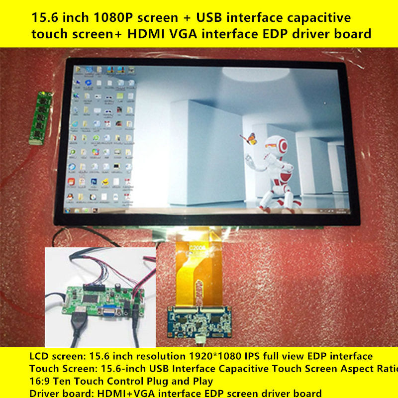 15.6 Inch 1920x1080 IPS 10 Point Capacitive Touch Display Screen LCD Module HMDI Portable Raspberry Pi 3 Car Aerial Monitor PC
