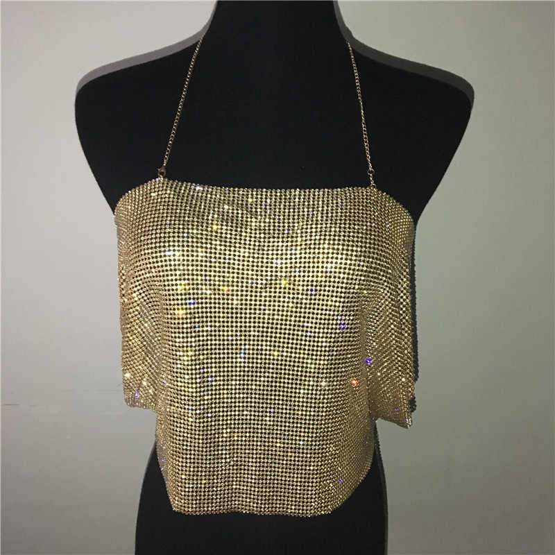 9edd615866 ... Women Sexy Crop Top Backless Bling Metallic Sequin Shiny Gold Tank Top  Vest Rhinestone Night Club ...