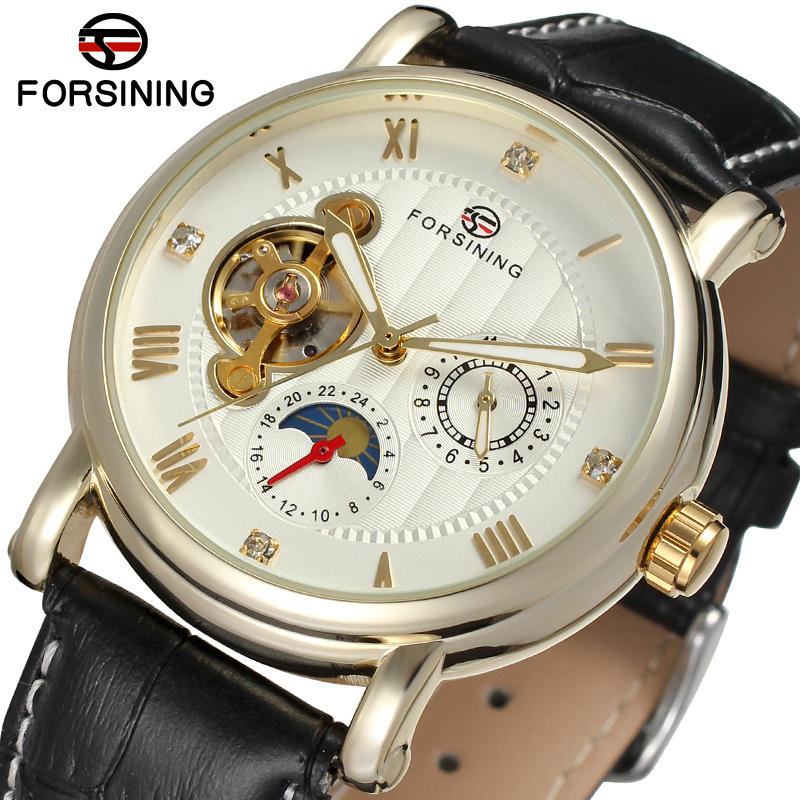 FSG800M3G2 Forsining brand men Automatic self- wind dress round analog watch with moon phase gift box whole sale free shipping все цены