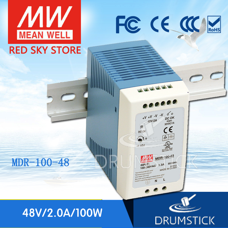 Selling Hot MEAN WELL MDR-100-48 8V 2A meanwell MDR-100 48V 90W Single Output Industrial DIN Rail Power Supply mean well original mdr 100 12 12v 7 5a meanwell mdr 100 12v 90w single output industrial din rail power supply