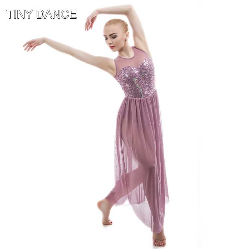 7763bf9fa6 ... Top Quality Girls Sequin Dress Ballet Dance Lyrical Dress Women Stage Costumes  Contemporary Dance Long Mesh ...