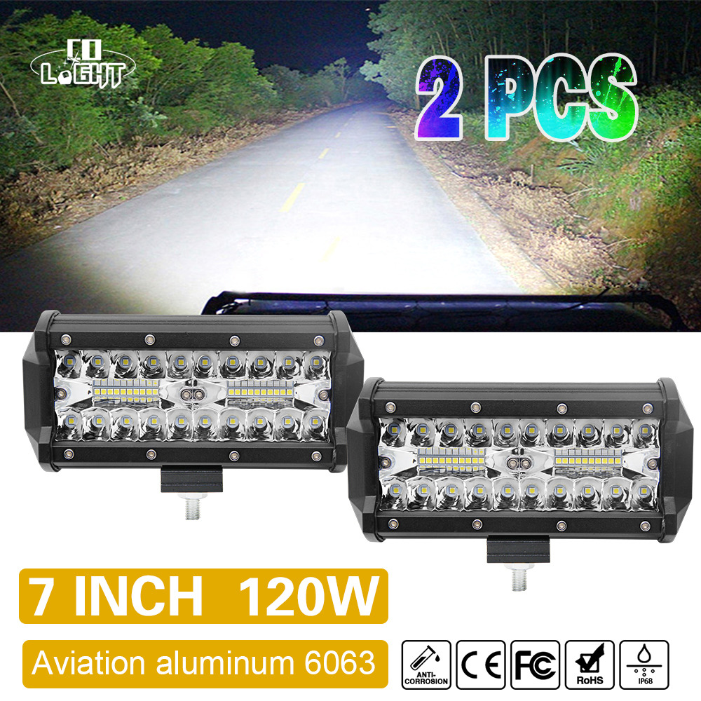 CO LIGHT 7Inch Offroad 120W LED Worklight 3-Row Spot Flood Combo Auto Led Light Bar For ATV Lada Niva 4x4 Boat Led Bar 12V 24V guleek 60w type h 4200lm 6000k 6 led white flood spot light worklight bar for car boat