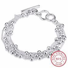 Женский браслет с 6 бусинами из серебра 925 пробы ювелирное