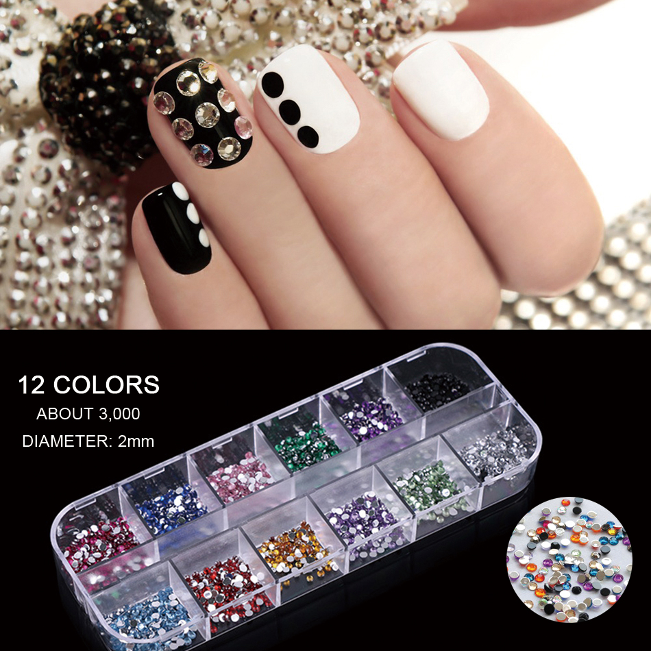 3000pcs Nail Art Rhinestones Glitter Decorations Diamond Acrylic