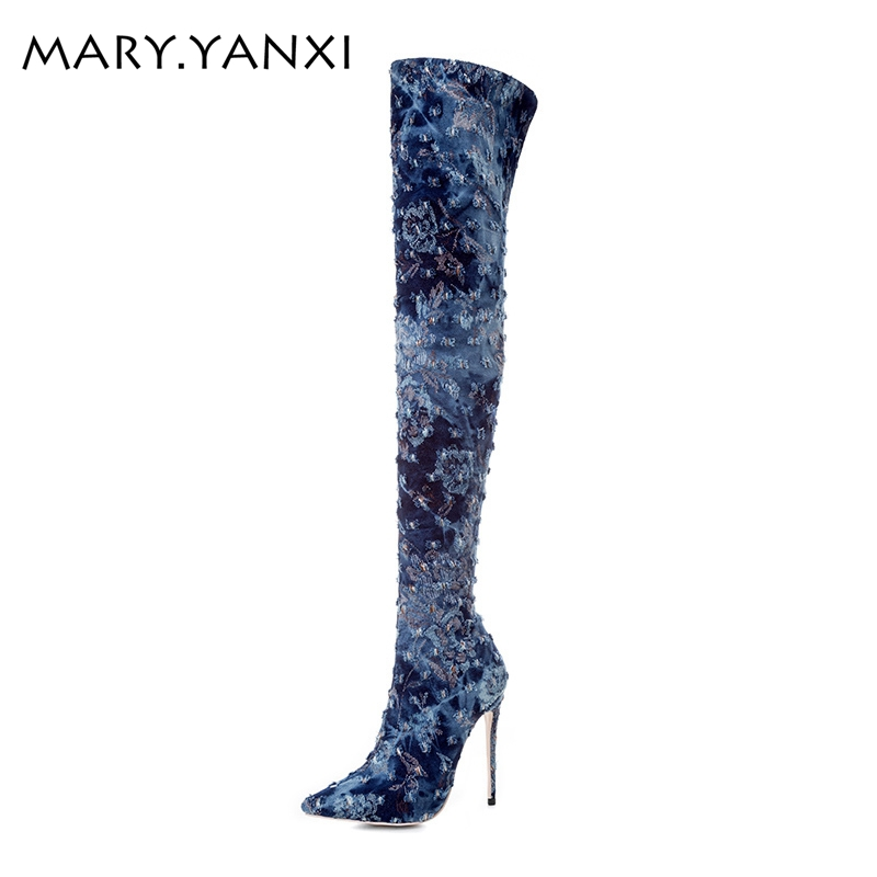 Big size 34-43 women shoes fashion long boots over-the-knee women boots pointed toe high heels stilettos pumps denim shoes women 2017 winter new fashion women brown or white color square toe heels over the knee high thigh boots martin long boots big size 42