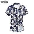 Новое Лето 2017 Китайский Рубашки С Коротким Рукавом Camisa Цветочный Masculina Повседневная Гавайская Рубашка Хлопок Социальный Рубашка 5xl 6xl 7xl