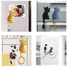 Cute Cartoon Cat Hook Stereo Refrigerator Magnets Hanging Home Decoration Fridge Funny Stickers New