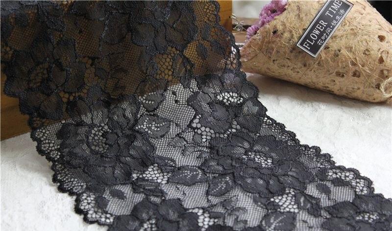 ⑥Negro stretch encaje elástico tela de encaje DIY vestido de novia ...