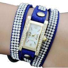 Топ Новый Кожаный браслет часы причудливый Горный Хрусталь платье наручные часы Модные девушки Корейский стиль Падение корабля, Ученик Школы Moontre Uhr
