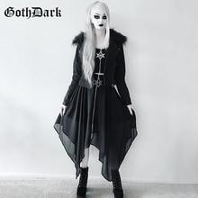 Goth Dark Grunge Black Mesh Gothic Long Skirts Punk Asymmetrical Zipper Transparent Pentagram skirts woman fashion 2019 Fashion