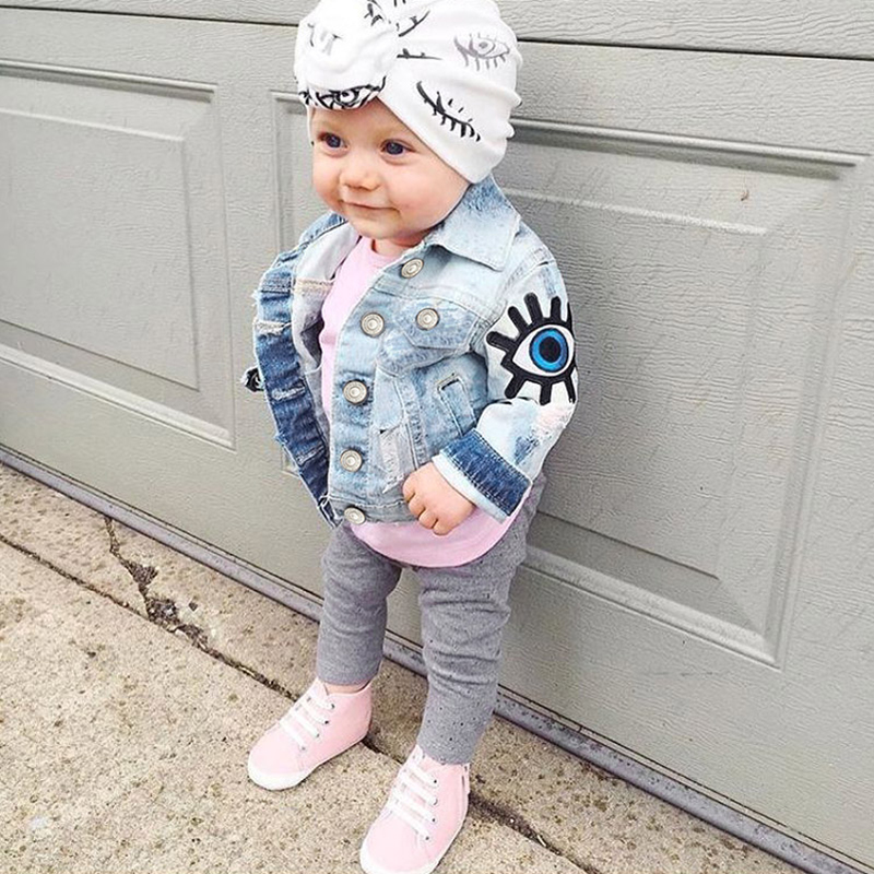 Baby Girls Denim Jackets For Boys Jackets And Coats Children Jacket Spring Autumn Eyes Embroidery Jeans Coat Children Outerwear scratch kids girls outerwear denim jeans jackets for children embroidery flower baby girl coats infant autumn clothing outfits