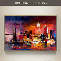 Excellent Artist Hand Painted Abstract New York Landscape Oil Painting On Canvas Abstract Colorful New York
