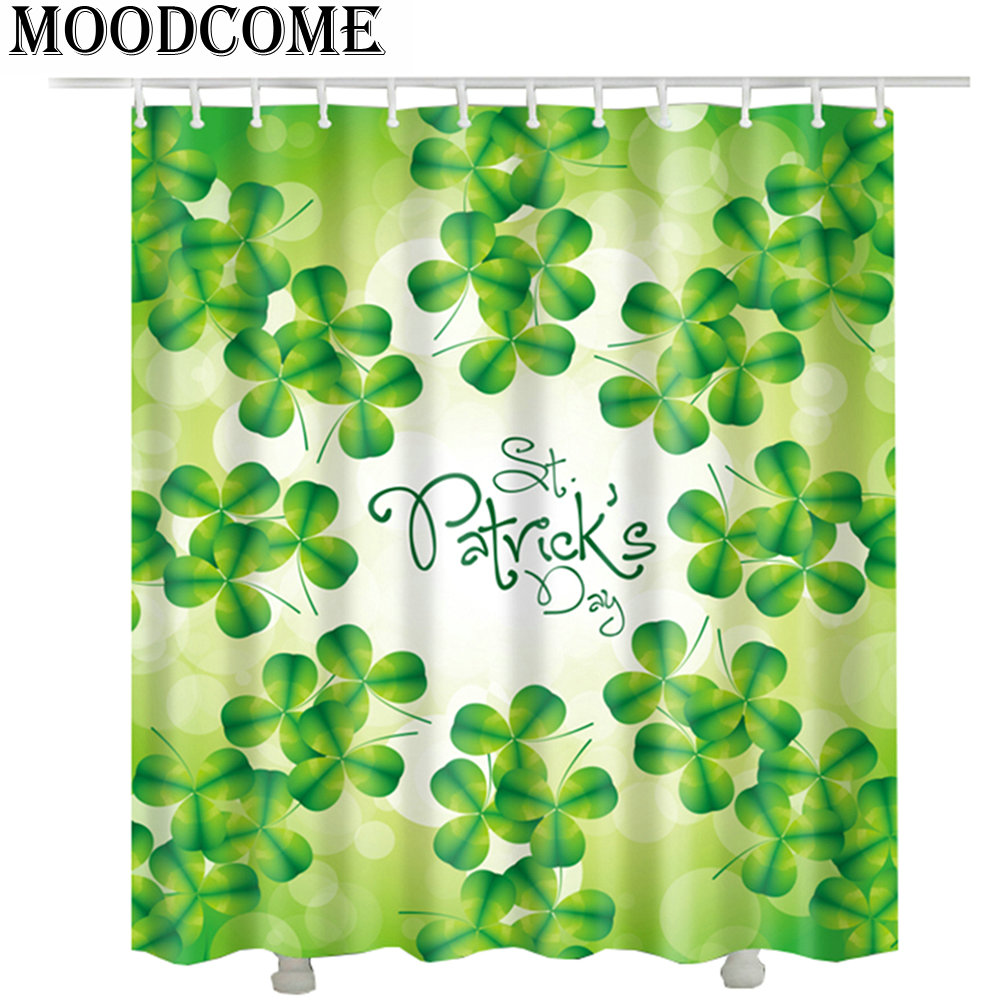 3D Clover Flower Shower Curtains Polyester Green Glower Waterproof Bathroom Curtains 2017 new