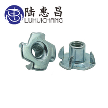 luchang 20pcs M4 M5 M6 M8 M10 M12 Zinc Plated Four Claws Nut Speaker T-nut Blind Pronged Tee Furniture Hardware