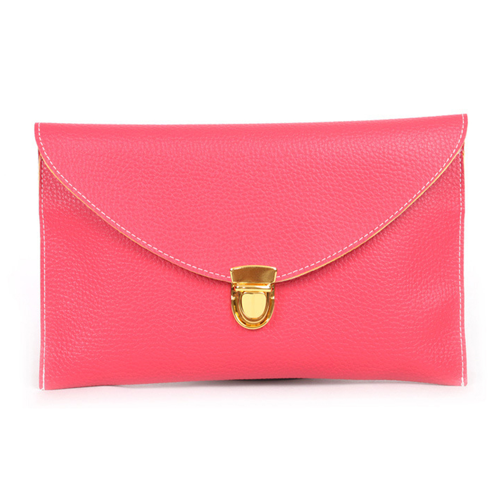 Leather Envelope Clutch with Drop-in Chain Shoulder Strap Watermelon Red