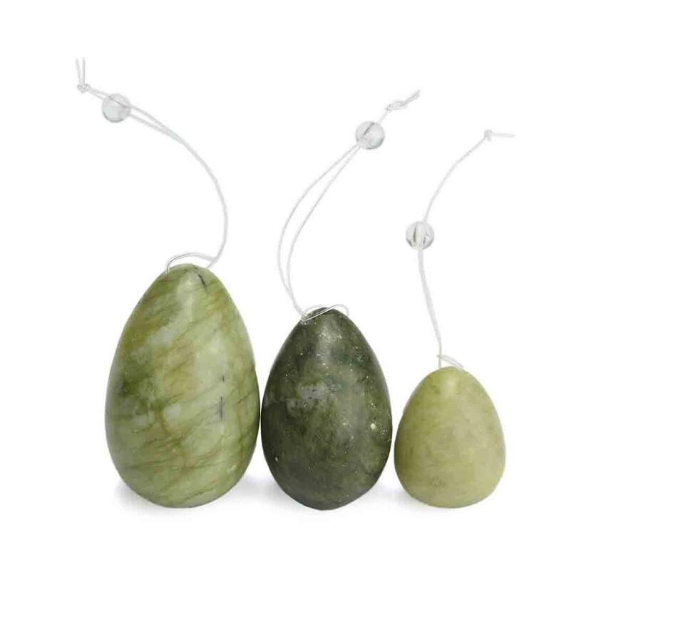 Natural Green Jade Egg for Kegel Pelvic Floor Muscles Vaginal Balls Exercise Yoni Egg Ben Wa Ball Vibrator For Women Sex toys himabm 1 set natural purple amethyst drilled egg for kegel exercise pelvic floor muscles vaginal exercise yoni egg ben wa ball