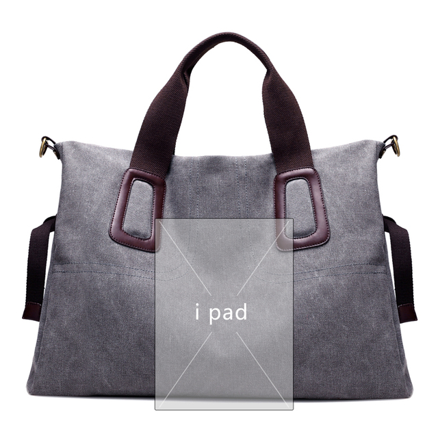 Canvas Women Handbags Casual Large Capacity Female Totes Hobos Solid Crossbody Shoulder Bag 3
