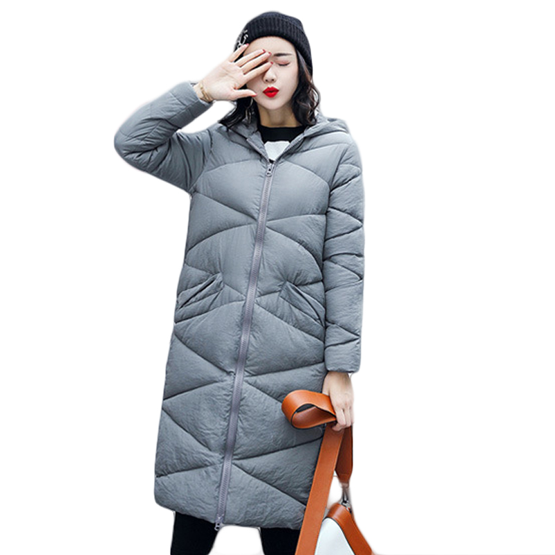 2017 Elegant Female Long Slim Cotton-padded Hooded Coats Women Solid Winter Warm Parkas Ladies Jackets Outwear Plus Size CM1529 2017 winter long jacket women winter hooded warm coats female warm padded parkas solid outwear abrigos mujer invierno sy1240