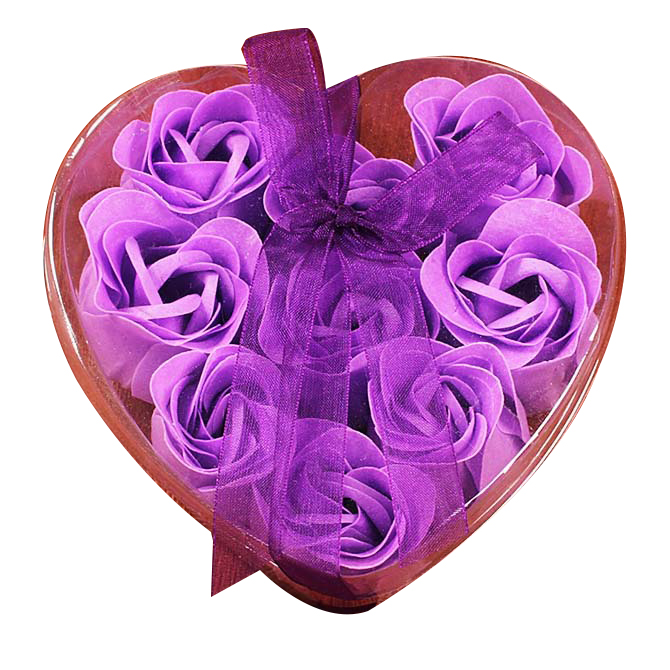 9Pcs Scented Rose Flower Petal Bath Body Soap Wedding Party Gift(Purple)