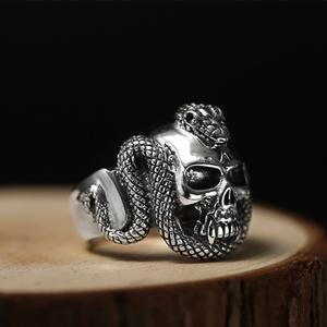 Image 5 - ZABRA 100% 925 Sterling Silver Skull Ring Men With Snake Big Punk Rock Gift For Biker Man Rings Silver Gothic Jewelry