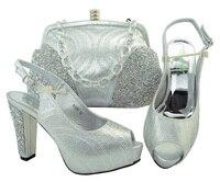Серебряный Цвет Новые модели обуви и сумка для соответствия итальянский в африканском стиле свадебные туфли и Сумка Высокое качество набор