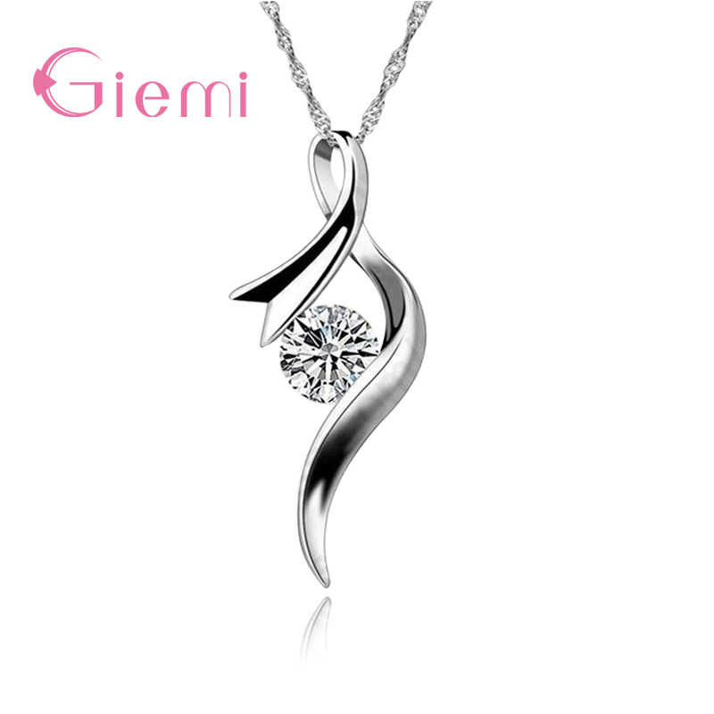 Rock Bottom Price! Shiny 925 Sterling Silver Pendant Necklace Jewelry for Women Clear CZ Crystal Stone Popular Female Bijoux