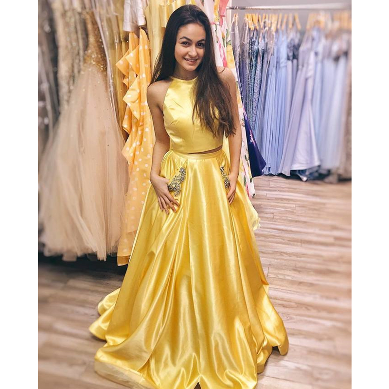 Two Pieces Halter Long Prom Dresses 2019 A Line Yellow Satin Backless Formal Evening Dress with Beading Pockets in Prom Dresses from Weddings Events