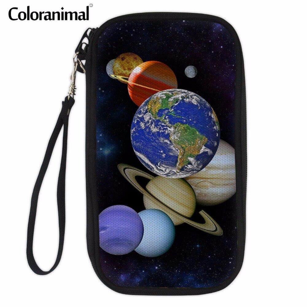 Coloranimal Fashion Passport Wallet for Ladies 3D Planets Print Women Men Casual Storage Organized Money Bag Hand Passport Purse ...