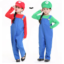 Mario and Luigi Costumes Kids Super Mario Bros/Brothers Funy Cosplay Costume Cute Child Fancy Dress Party Halloween Outfit
