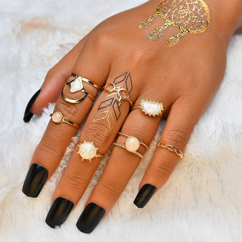 7pc/set Women Charm Gold Bohemia Midi Finger Ring Set Colorful Jewelry Knuckle Ring Set Girl Jewelry Gift