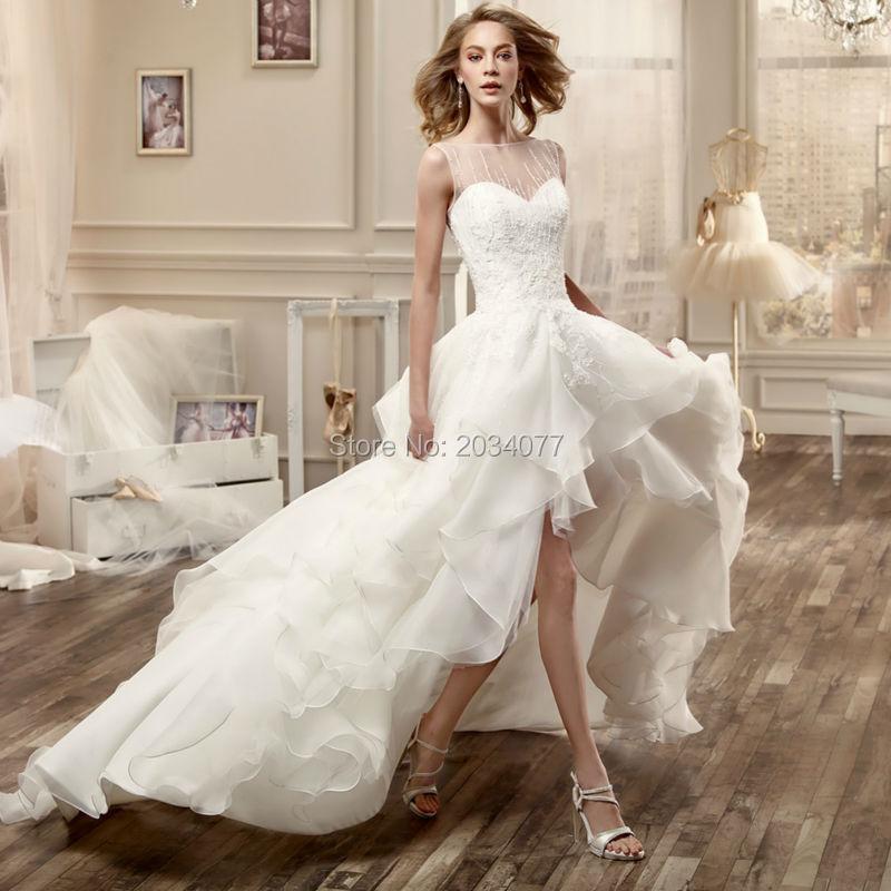 Vestido de noiva de renda High Low Wedding Dresses Off White 2016 ...