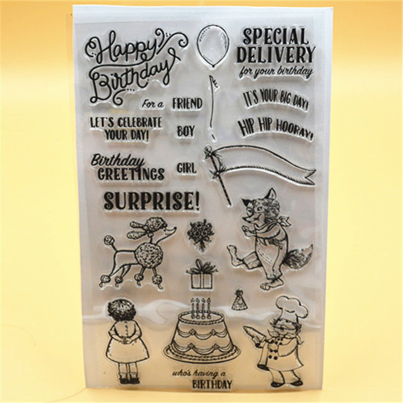 Happy Birthday Transparent Clear Silicone Stamp/Seal for DIY scrapbooking/photo album Decorative clear stamp lovely animals and ballon design transparent clear silicone stamp for diy scrapbooking photo album clear stamp cl 278