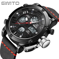 GIMTO Brand Luxury Digital Sport Watch Men LED Dual Display Quartz Watch For Men Multifunction Male