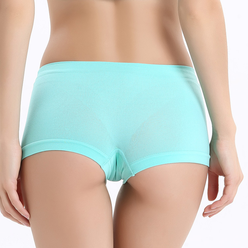 Seamless Anti-Bacterial Breathable Panties Women's Pure Color Mid-waist Security Panties Women Boxers Short Safety Pants