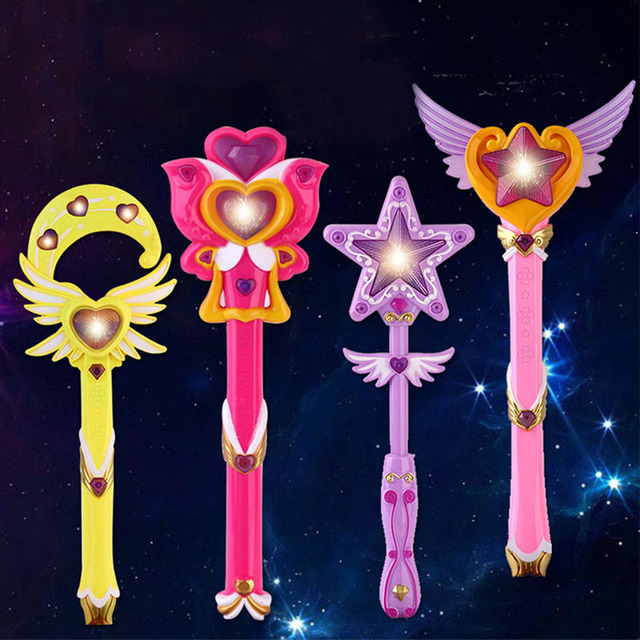 Kids Electric Musical Magic Wand Toys For Children Plastic Sound Music Light Up Funny Become The Princess Toy For Girls Gift